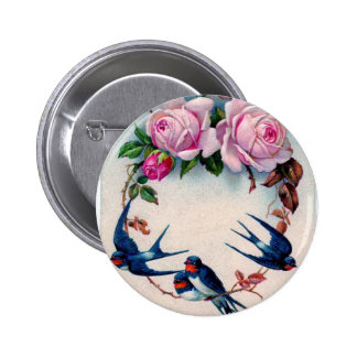 vintage swallows and roses on cyan button