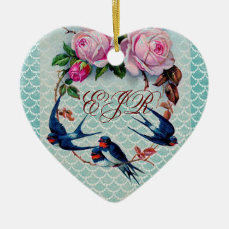vintage swallows and roses on cyan ceramic ornament