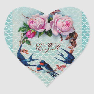 vintage swallows and roses on cyan heart sticker