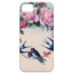 vintage swallows and roses on cyan iPhone 5 case