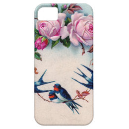 vintage swallows and roses on cyan iPhone SE/5/5s case
