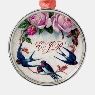 vintage swallows and roses on cyan metal ornament