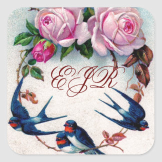 vintage swallows and roses on cyan square sticker
