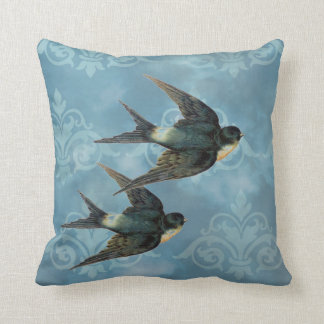 Vintage Swallows Blue Pillow