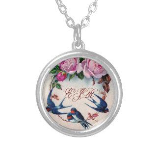 vintage swallows monogram necklace