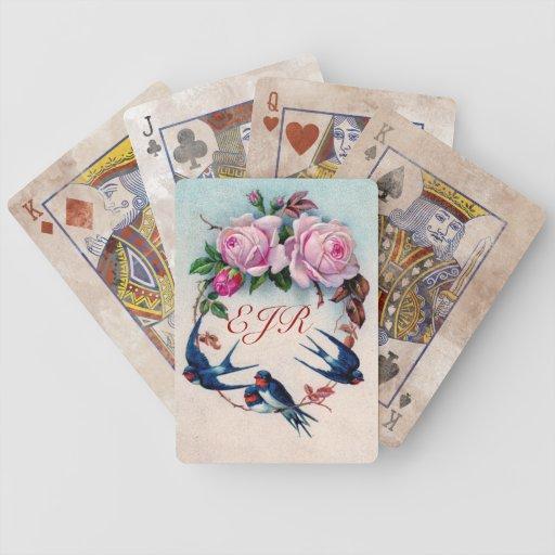 vintage swallows monogram playing cards
