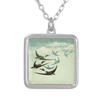 Vintage Swallows Silver Plated Necklace
