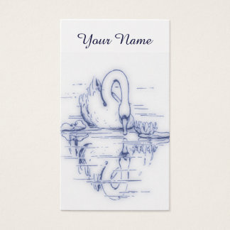 Vintage Swan reflection Business Card