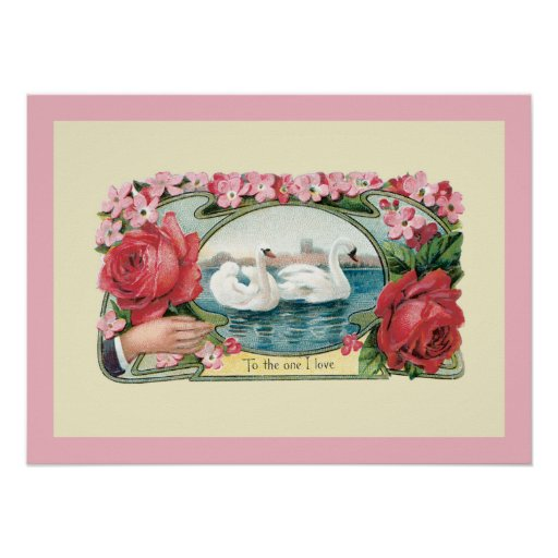 Vintage Swans and Roses Art Poster