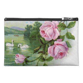 Vintage Swans and Roses Travel Accessories Bag