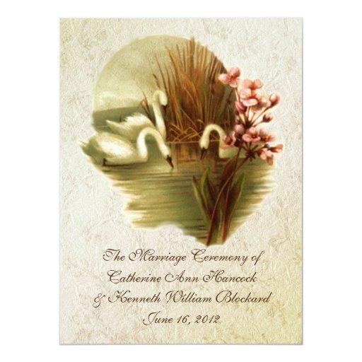 Vintage Swans Wedding Program Card