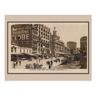 Vintage Swanston Street, Melbourne Postcard