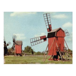 Vintage Sweden,  Kalmar, Post mills Postcard
