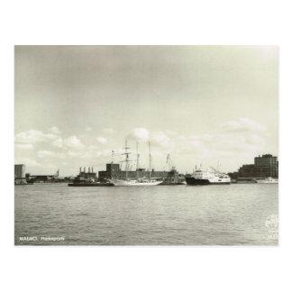 Vintage Sweden,  Malmo Harbour, Tall ship Postcards