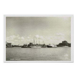 Vintage Sweden,  Malmo Harbour, Tall ship Posters