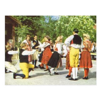 Vintage Sweden, Traditional Swedish dancing Postcard