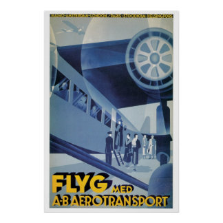 Vintage Swedish Airlines (ABA) Travel Ad Poster