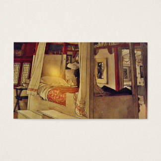 Vintage Swedish Bed and Curtains Business Card