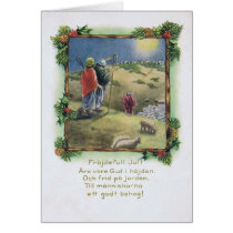 Vintage Swedish Christmas Card with Shepherds