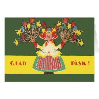 Vintage Swedish Easter Flowers Glad Pask Card