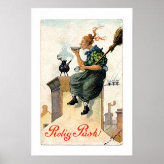 Vintage Swedish Easter painting print