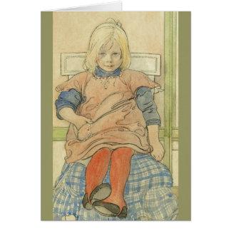 Vintage Swedish Girl on Plaid Chair Card