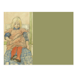 Vintage Swedish Girl on Plaid Chair Postcard