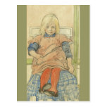Vintage Swedish Girl on Plaid Chair Postcards