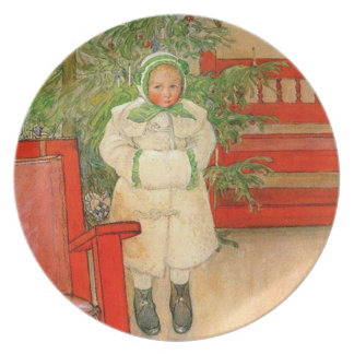 Vintage Swedish Girl with Fur Muff Scandinavian Plate