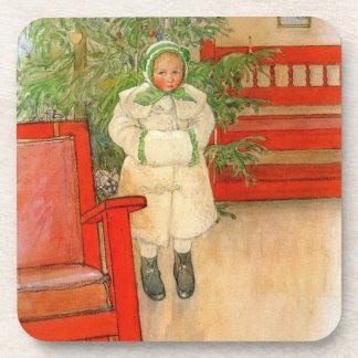 Vintage Swedish Girl with Muff Christmas Beverage Coaster