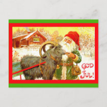 "Vintage Swedish Gnome or Santa with Goat ""God Jul"" Holiday Postcard"