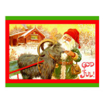 "Vintage Swedish Gnome or Santa with Goat ""God Jul"" Postcard"