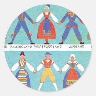 Vintage Swedish regional costumes Classic Round Sticker