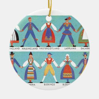 Vintage Swedish regional costumes Double-Sided Ceramic Round Christmas Ornament
