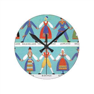 Vintage Swedish regional costumes Round Clock
