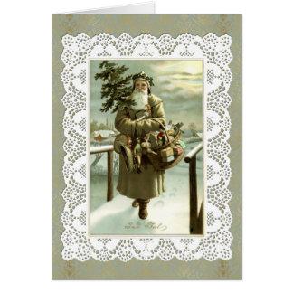 Vintage Swedish Santa Claus Post Card Art & Lace