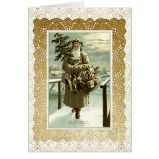 Vintage Swedish Santa Claus Post Card Art & Lace 2