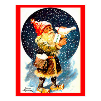 Vintage Swedish Tomte Christmas Gnome Postcard