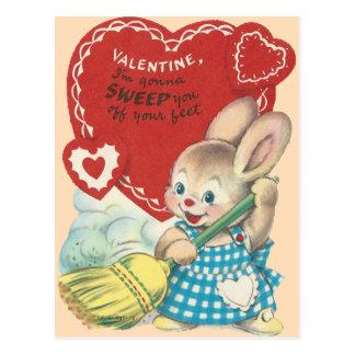 Vintage Sweeping Bunny Valentine Postcard