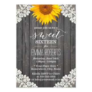 Vintage Sweet 16 Rustic Sunflower Laced Barn Wood Card