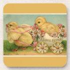 Vintage Sweet Fluffy Chicks Gold Easter Coaster