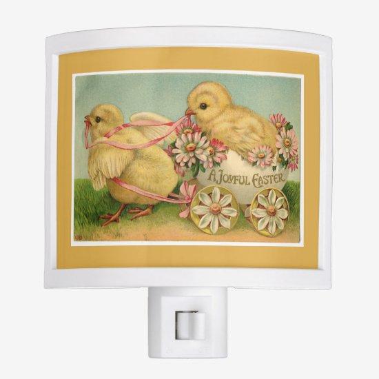 Vintage Sweet Fluffy Chicks Gold Easter Night Light