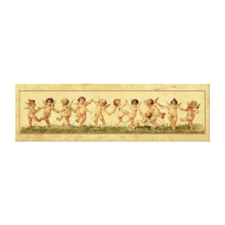 Vintage Sweet Happily Dancing Cherubs Canvas Print