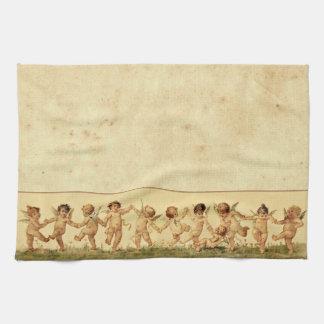 Vintage Sweet Happily Dancing Cherubs Towel