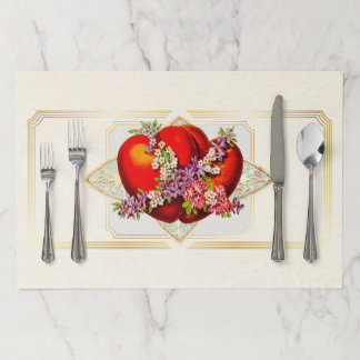 Vintage Sweet Heart Dinner Setting Paper Placemat