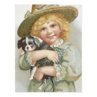 Vintage Sweet Little Girl holding Cute Little Dog Postcard
