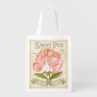 Vintage Sweet Pea Seed packet, grocery bag