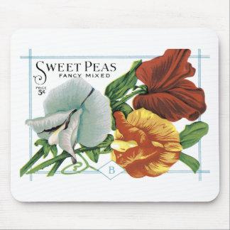 Vintage Sweet Peas Seed Packet Mousepad