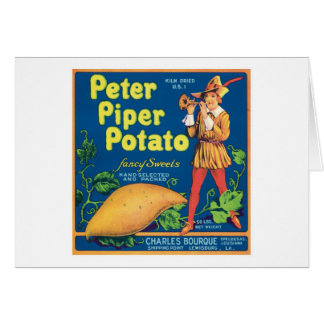 Vintage Sweet Potato Food Product Label Card