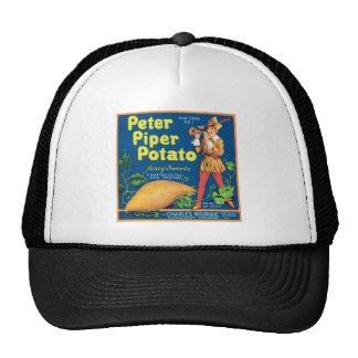 Vintage Sweet Potato Food Product Label Mesh Hats